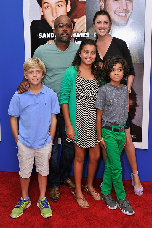 ". Darius Rucker, Beth Leonard, Henry Drew, Dani Rucker, and Jack Rucker attend the ""Grown Ups 2\"" New York Premiere at AMC Lincoln Square Theater on July 10, 2013 in New York City.  (Photo by Stephen Lovekin/Getty Images)"