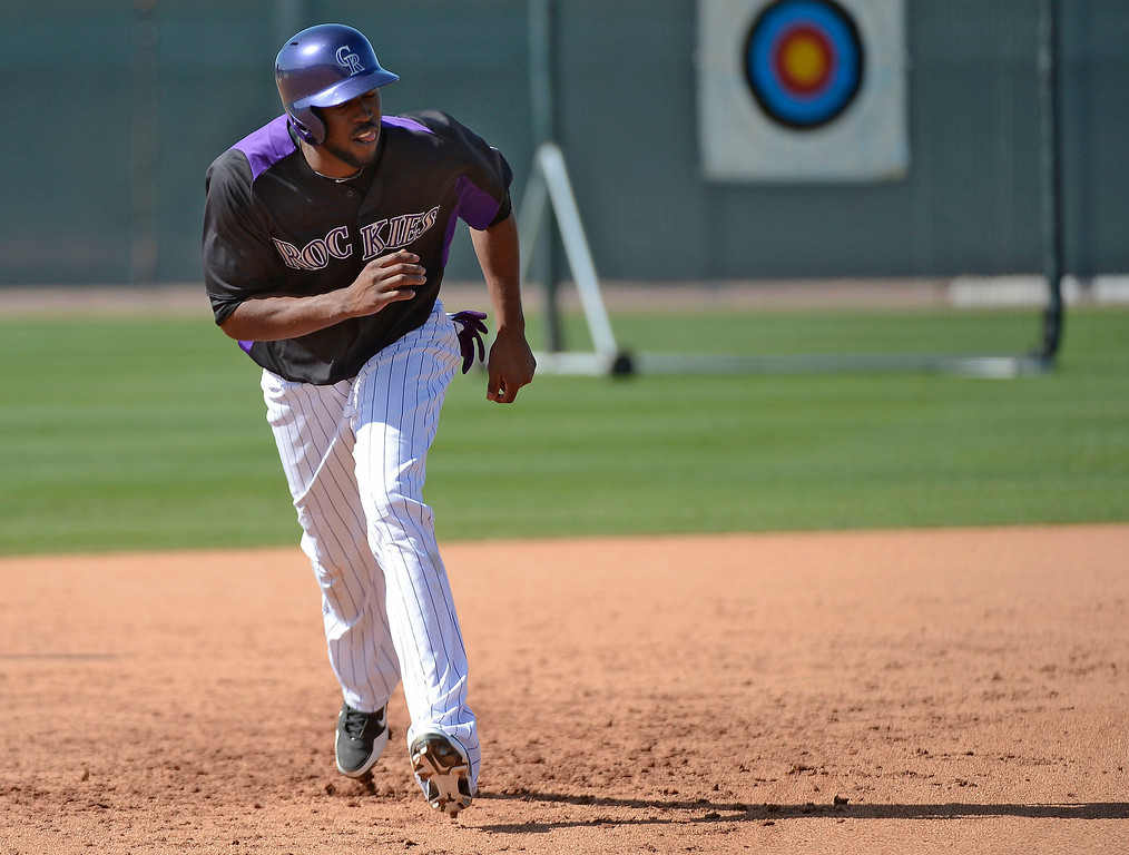 . SCOTTSDALE, AZ. - FEBRUARY 19: Colorado Rockies Dexter Fowler (24) runs bases during Spring Training February 19, 2013 in Scottsdale. (Photo By John Leyba/The Denver Post)