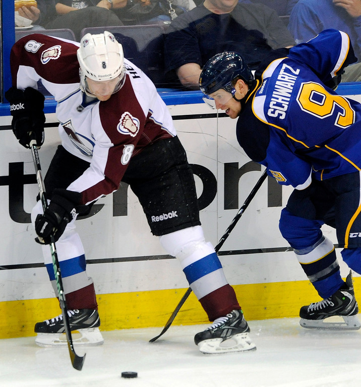 . Colorado Avalanche\'s Jan Hejda (8), of Czech Republic, and St. Louis Blues\' Jaden Schwartz battle for the puck in the third period of an NHL hockey game Tuesday, April 23, 2013, in St. Louis. The Blues won 3-1. (AP Photo/Bill Boyce)