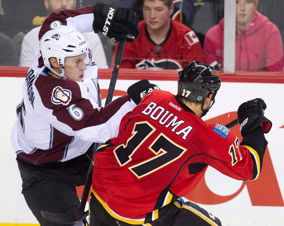 . Colorado Avalanche\'s Erik Johnson, left, collides with Calgary Flames\' Lance Bouma during the second period of an NHL hockey game, Friday, Dec. 6, 2013 in Calgary, Alberta. (AP Photo/The Canadian Press, Larry MacDougal)