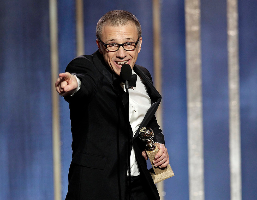 ". This image released by NBC shows Christoph Waltz, winner of the best supporting actor in a film for his role in ""Django,\"" on stage during the 70th Annual Golden Globe Awards held at the Beverly Hilton Hotel on Sunday, Jan. 13, 2013, in Beverly Hills, Calif. (AP Photo/NBC, Paul Drinkwater)"