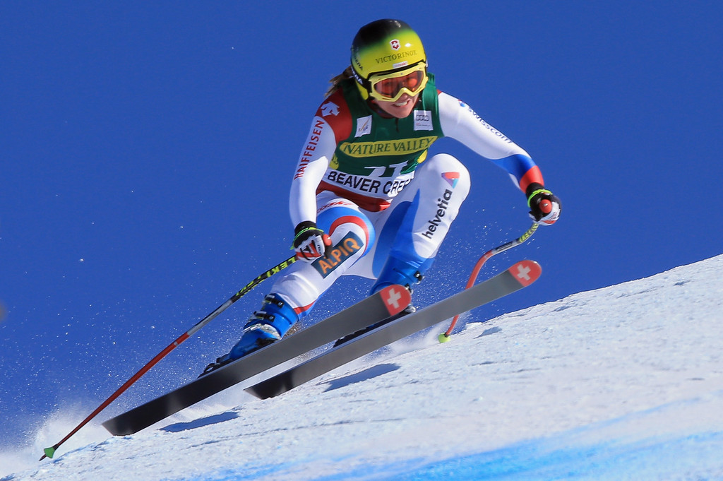 . Fabienne Suter of Switzerland skis to fourth place in the ladies\' downhill on Raptor at the Audi FIS Alpine World Cup at Beaver Creek on November 29, 2013 in Beaver Creek, Colorado.  (Photo by Doug Pensinger/Getty Images)
