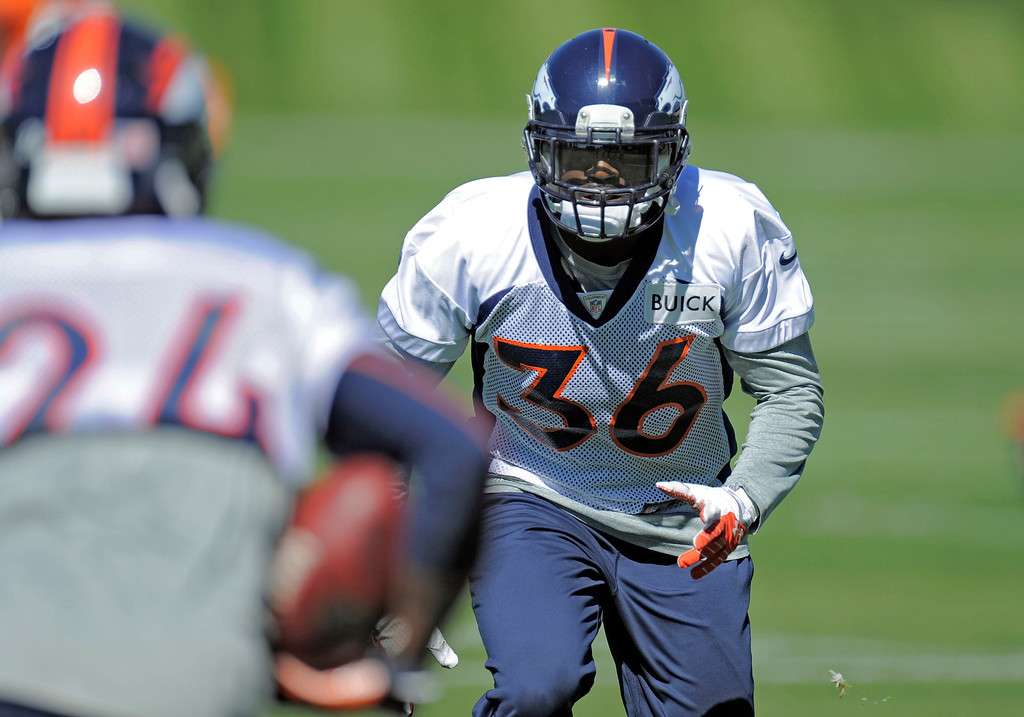 . Cornerback Kayvon Webster (36) of the Denver Broncos runs through drills during practice September 25, 2013 at Dove Valley. (Photo by John Leyba/The Denver Post)
