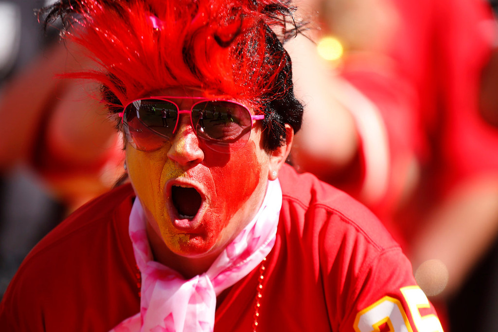 . A fan screams during one of the attempts for the Guinness World Record of loudest stadium as the Kansas City Chiefs take on the Oakland Raiders in the second quarter October 13, 2013 at Arrowhead Stadium in Kansas City, Missouri. (Photo by Kyle Rivas/Getty Images)