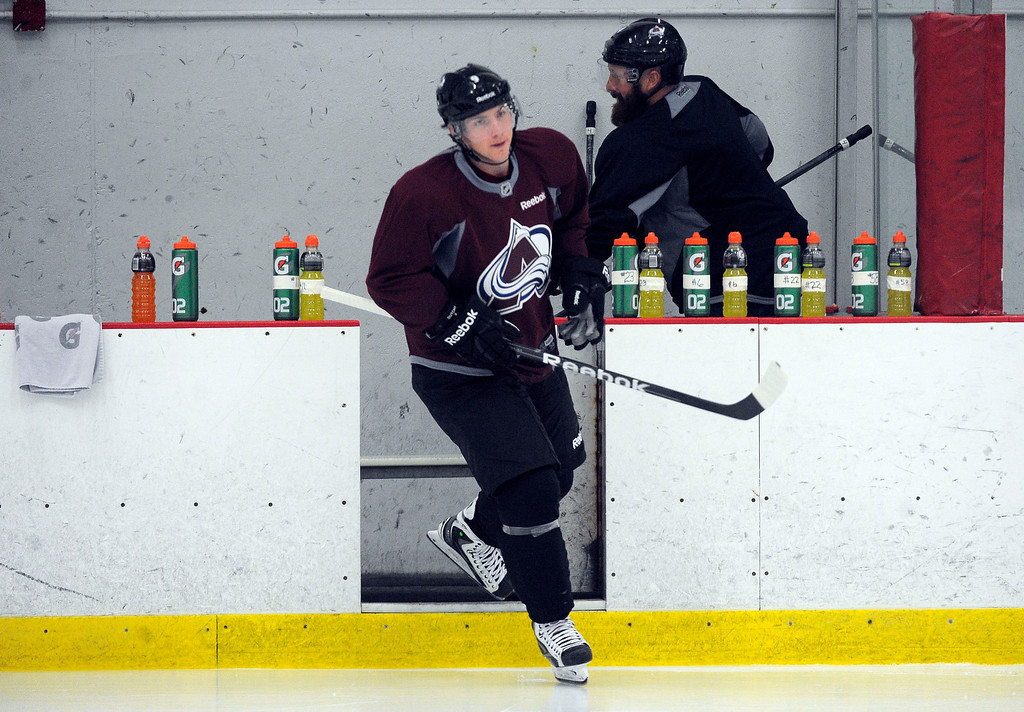 . Colorado Avalanche Matt Duchene (9) hits the ice as the Avalanche return to the ice Sunday, January 13, 2013 at Family Sports Center to start the 2013 training camp.  John Leyba, The Denver Post