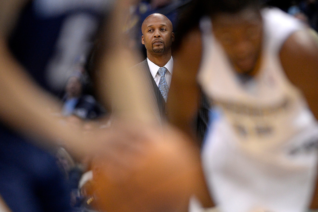 . Denver Nuggets head coach Brian Shaw watches the action against the Memphis Grizzlies during the second quarter. (Photo by AAron Ontiveroz/The Denver Post)
