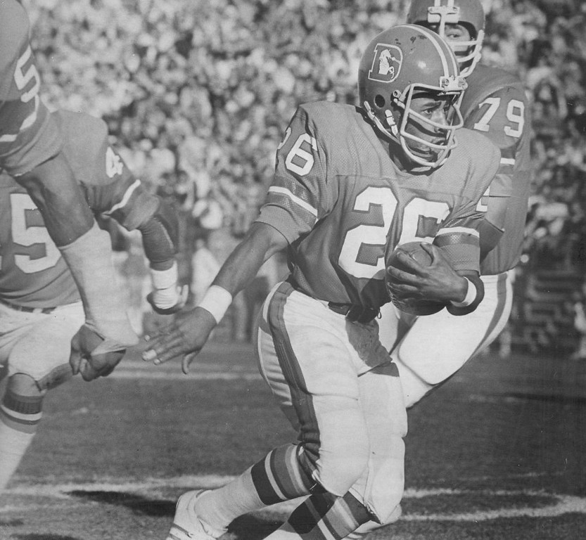 . Calvin Jones heads towards goal line following first-play interception.  Jones intercepted pass tipped by Ray May, returned ball to San Diego 12, set up TD. 1973.  (Photo by John Beard/Denver Post, Inc.)