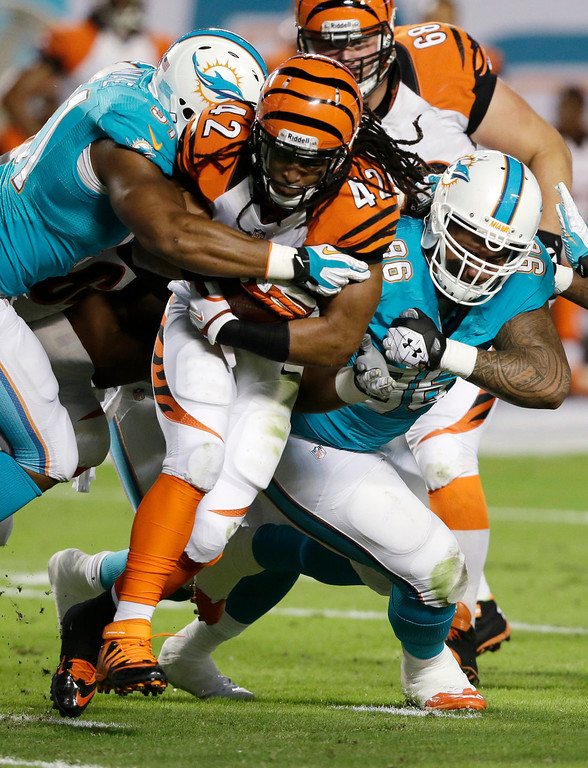 . Miami Dolphins defensive tackle Paul Soliai (96) and defensive end Cameron Wake (91) tackle Cincinnati Bengals running back BenJarvus Green-Ellis (42) during the first half of an NFL football game, Thursday, Oct. 31, 2013, in Miami Gardens, Fla. (AP Photo/Wilfredo Lee)