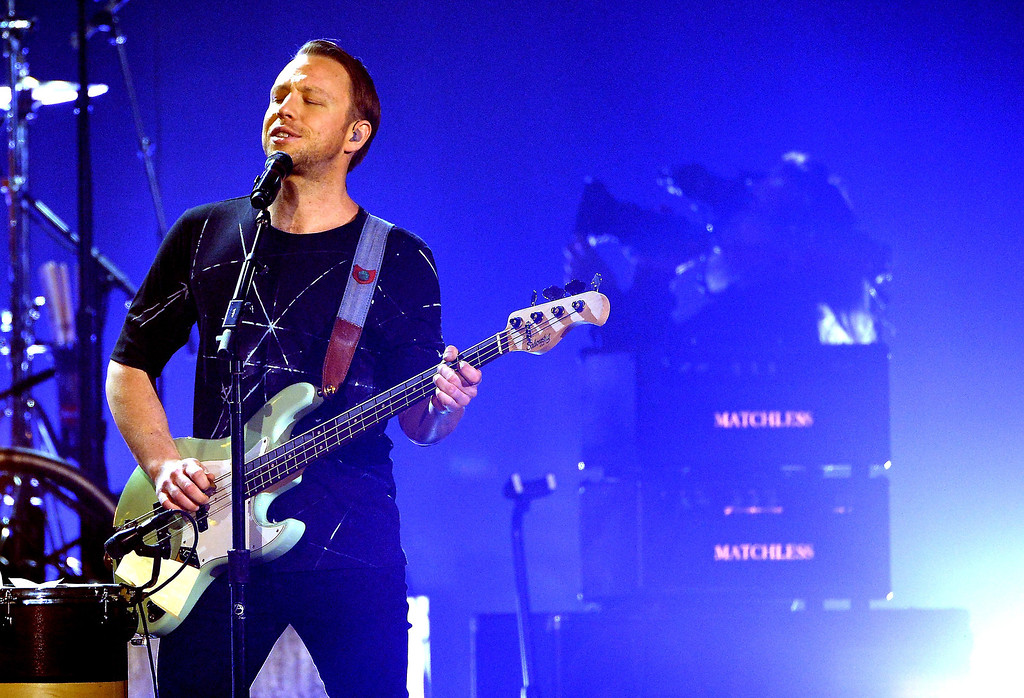 . Imagine Dragons guitarist Ben McKee performs onstage during the 2014 Billboard Music Awards at the MGM Grand Garden Arena on May 18, 2014 in Las Vegas, Nevada.  (Photo by Ethan Miller/Getty Images)