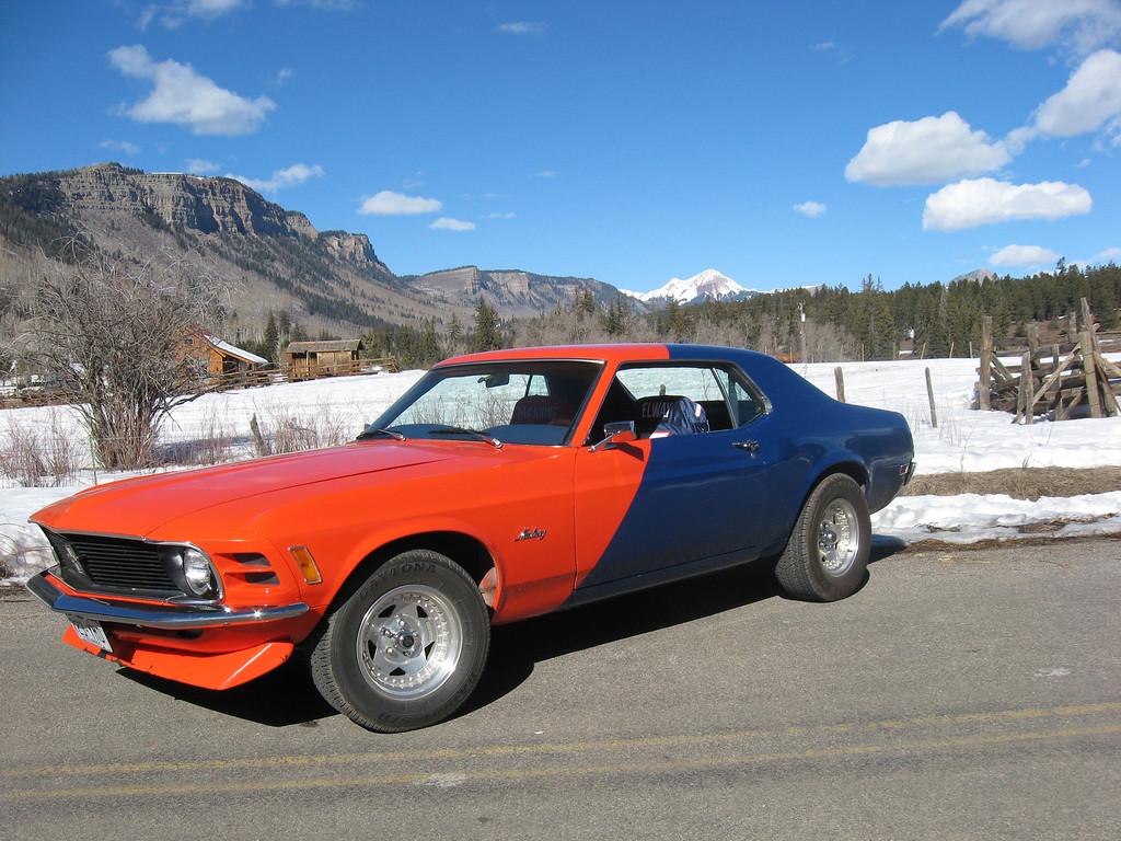 """. \""""GO BRONCOS\""""!!!  Rick & Sherri Hartman\'s 1970 Ford Mustang Grande! Durango, Colorado"""