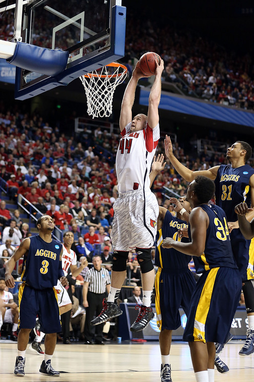 . LEXINGTON, KY - MARCH 21:  Stephan Van Treese #44 of the Louisville Cardinals goes up to dunk the ball against North Carolina A&T Aggies during the second round of the 2013 NCAA Men\'s Basketball Tournament at the Rupp Arena on March 21, 2013 in Lexington, Kentucky.  (Photo by Andy Lyons/Getty Images)