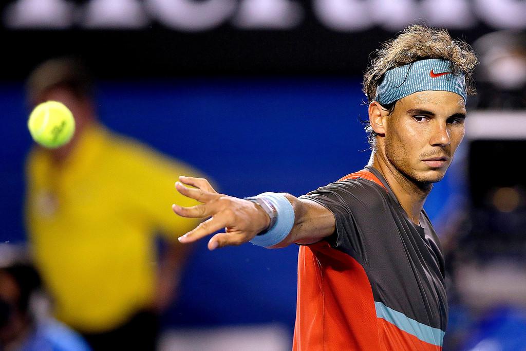 . Rafael Nadal of Spain throws a ball during his men\'s final match against Stanislas Wawrinka of Switzerland at the Australian Open Grand Slam tennis tournament in Melbourne, Australia, 26 January 2014.  EPA/NARENDRA SHRESTHA