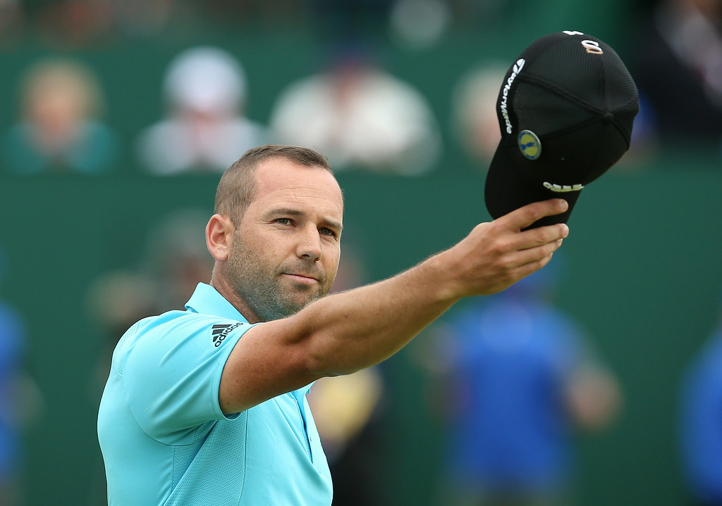 . Spain\'s Sergio Garcia reacts on the 18th green after his fourth round 66, on the final day of the 2014 British Open Golf Championship at Royal Liverpool Golf Course in Hoylake, north west England on July 20, 2014.  ANDREW YATES/AFP/Getty Images