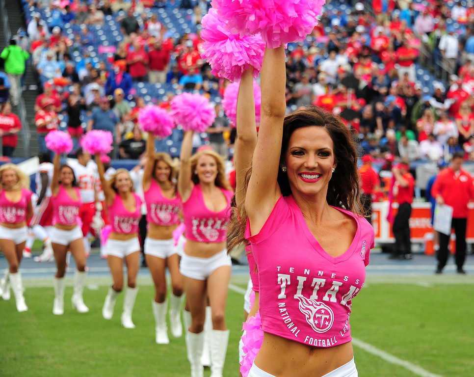 . Members of the Tennessee Titans Cheerleaders perform before the game against the Kansas City Chiefs at LP Field on October 6, 2013 in Nashville, Tennessee. (Photo by Scott Cunningham/Getty Images)