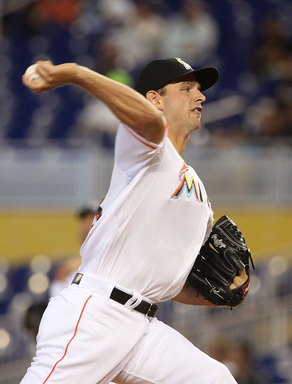 . Jacob Turner #33 of the Miami Marlins pitches against the Colorado Rockies during the second inning at Marlins Park on April 3, 2014 in Miami, Florida.  (Photo by Marc Serota/Getty Images)