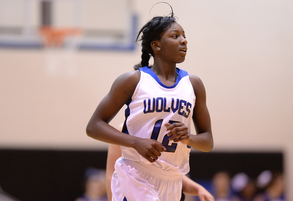 . AURORA, CO. JANUARY 08: Michaela Onyenwere of Grandview High School (12) is in the game against Eaglecrest High School at Grandview High School in Aurora, Colorado January 8, 2014. Grandview won 69-22. (Photo by Hyoung Chang/The Denver Post)