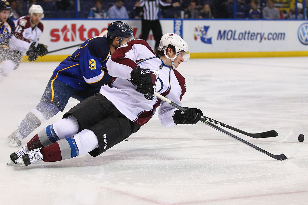 . ST. LOUIS, MO - APRIL 23: Matt Duchene #9 of the Colorado Avalanche misses a pass intended for him against the St. Louis Blues during the second period at the Scottrade Center on April 23, 2013 in St. Louis, Missouri.  (Photo by Dilip Vishwanat/Getty Images)