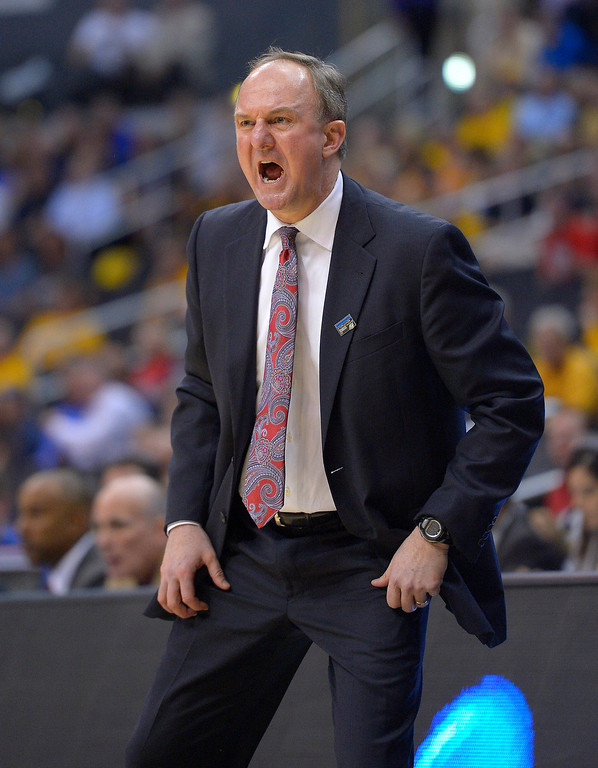 . Ohio State coach Thad Matta reacts during the first half of a West Regional semifinal against Arizona in the NCAA men\'s college basketball tournament, Thursday, March 28, 2013, in Los Angeles. (AP Photo/Mark J. Terrill)