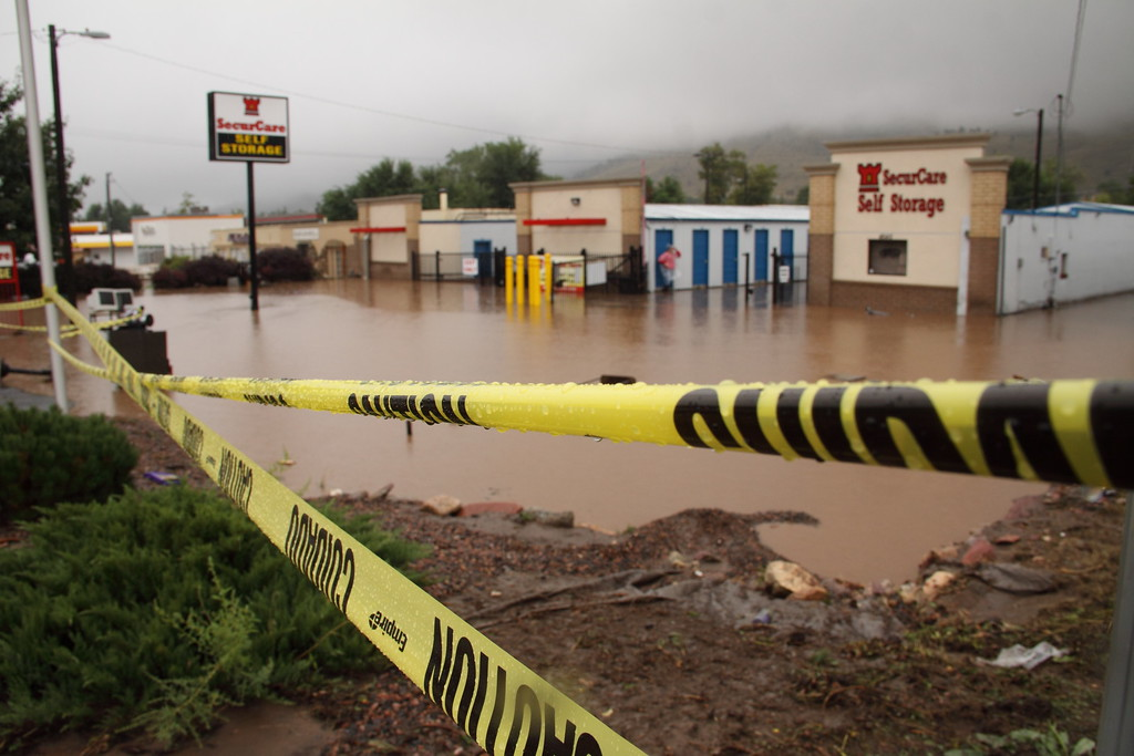 . Storage units in North Boulder appear completely flooded after nearly 18 hours of rain. Photo by Alex Knippenberg