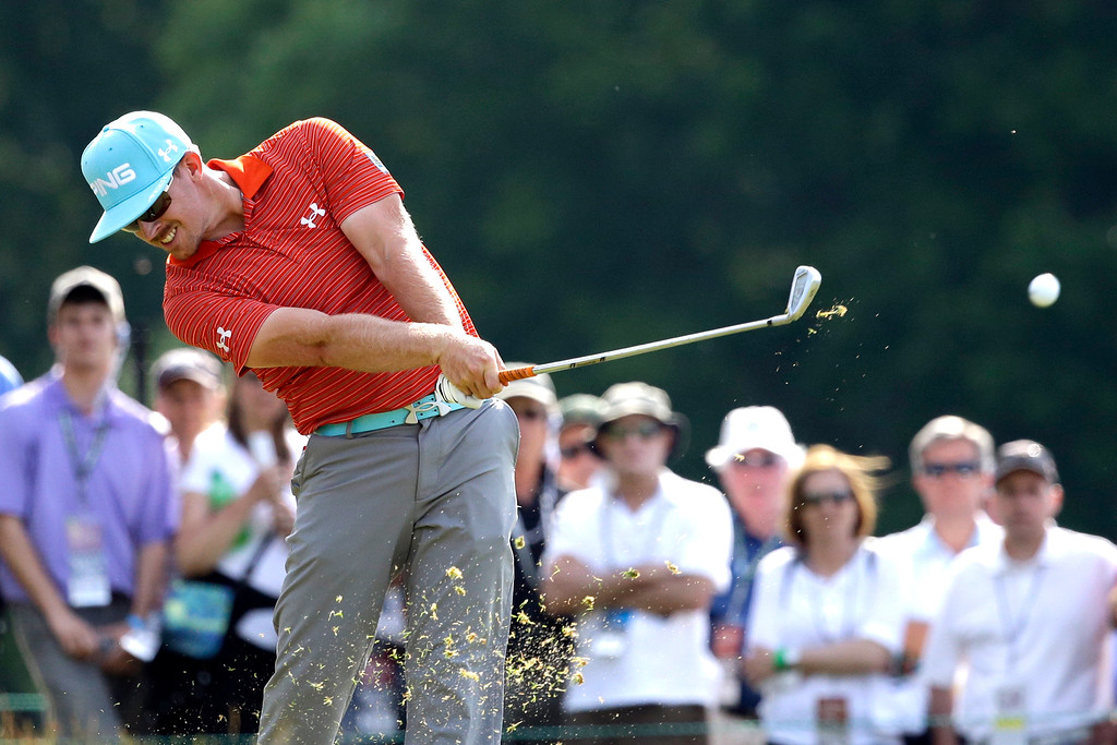 . Hunter Mahan tees off on the ninth hole during the third round of the U.S. Open golf tournament at Merion Golf Club, Saturday, June 15, 2013, in Ardmore, Pa. (AP Photo/Gene J. Puskar)