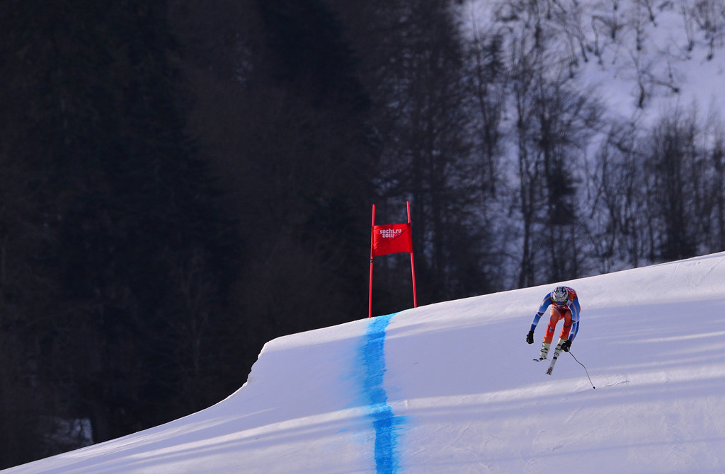 . Norway\'s Aksel Lund Svindal competes during the Men\'s Alpine Skiing Super Combined Downhill at the Rosa Khutor Alpine Center during the Sochi Winter Olympics on February 14, 2014.  DIMITAR DILKOFF/AFP/Getty Images