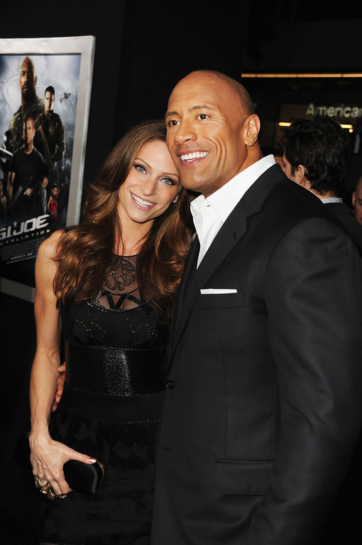 ". Lauren Hashian and actor Dwayne Johnson attend the premiere of Paramount Pictures\' ""G.I. Joe:Retaliation\"" at TCL Chinese Theatre on March 28, 2013 in Hollywood, California.  (Photo by Kevin Winter/Getty Images)"