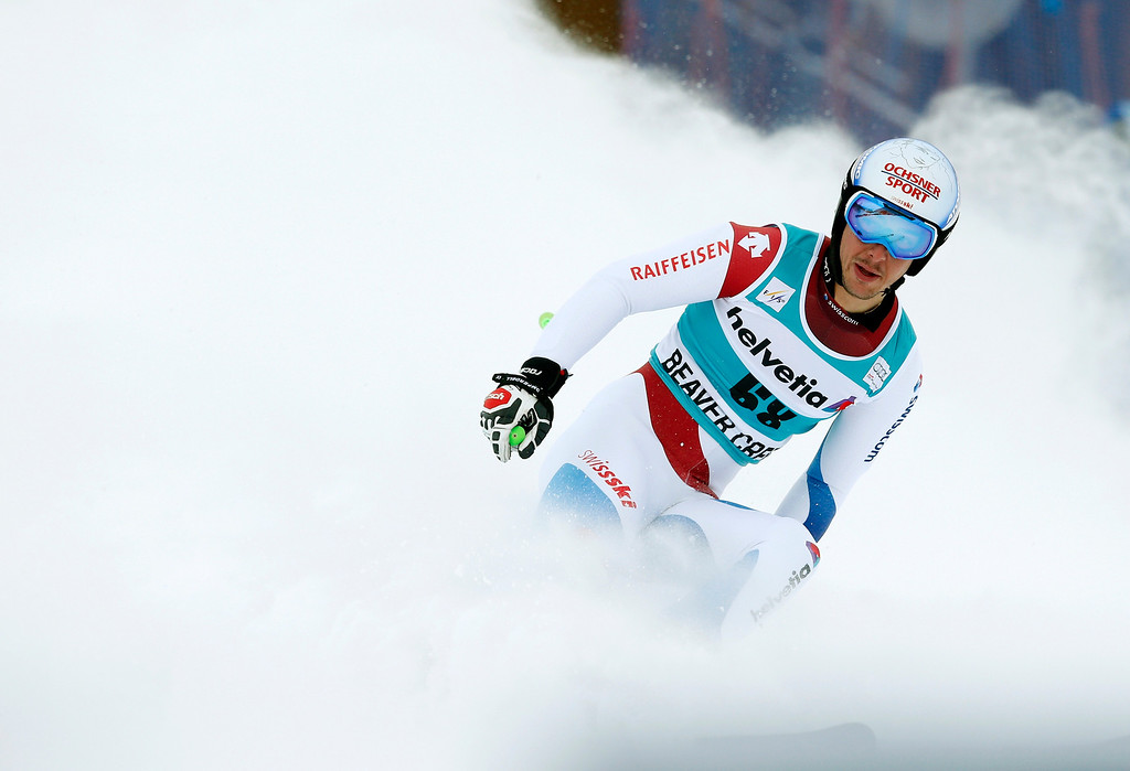 . Switzerland\'s Carlo Janka slows to a stop after finishing his second run of the men\'s World Cup giant slalom skiing event, Sunday, Dec. 8, 2013, in Beaver Creek, Colo. (AP Photo/Charles Krupa)