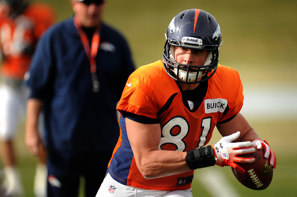 . Denver Broncos tight end Joel Dreessen #81 pulls in a pass during Broncos practice for their coming game against the Tampa Bay Buccaneers at Dove Valley in Denver Colorado Wednesday, November 28,  2012.    Joe Amon, The Denver Post