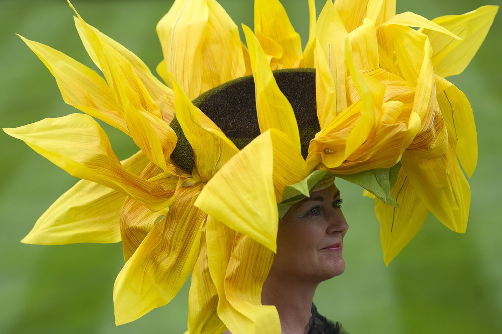 . A race-goer wearing a flamboyant hat poses for photographers on Ladies Day at the annual Royal Ascot horse racing event near Windsor, Berkshire, on June 19, 2014. The five-day annual fusion of high-end fashion and top-class racing is one of the highlights of global horse racing and the pinnacle of the English social calendar. AFP PHOTO / CARL COURT/AFP/Getty Images