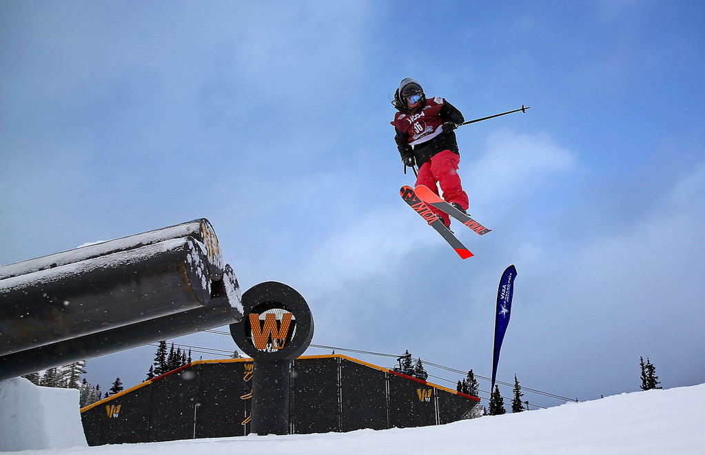 . Darian Stevens competes during qualifying for the women\'s FIS Ski Slopestyle World Cup at U.S. Snowboarding and Freeskiing Grand Prix on December 20, 2013 in Copper Mountain, Colorado.  (Photo by Mike Ehrmann/Getty Images)