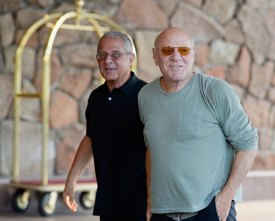 . Barry Diller, chairman of IAC/InterActive Corp, and Ronald Meyer, President & COO of Universal Studios, arrive for the annual conference on July 9, 2013 in Sun Valley, Idaho. The resort will host corporate leaders for the 31th annual Allen & Co. media and technology conference where some of the wealthiest and most powerful executives in media, finance, politics and tech gather for weeklong meetings which begins Tuesday. Past attendees included Warren Buffett, Bill Gates and Mark Zuckerberg.  (Photo by Kevork Djansezian/Getty Images)