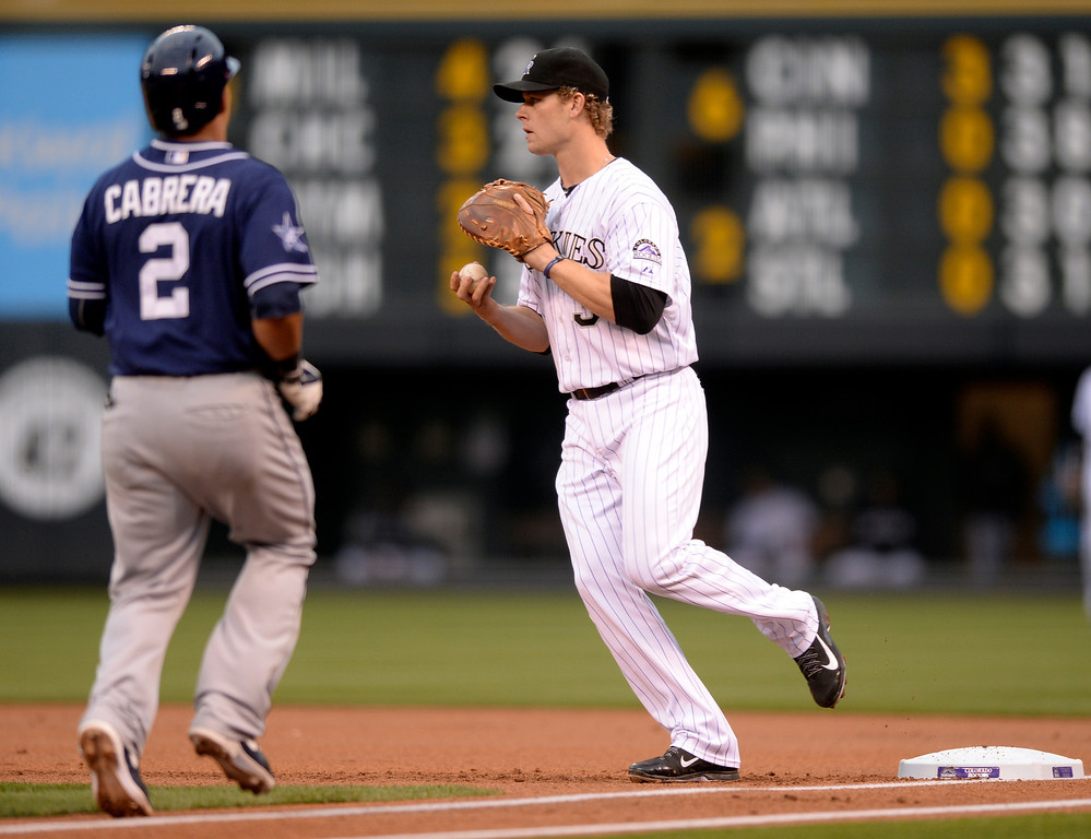 . DENVER, CO - MAY 15: Colorado 1B Justin Morneau made the out on San Diego batter Everth Cabrera in the first inning. The Colorado Rockies hosted the San Diego Padres at Coors Field  Friday night, May 16, 2014. (Photo by Karl Gehring/The Denver Post)