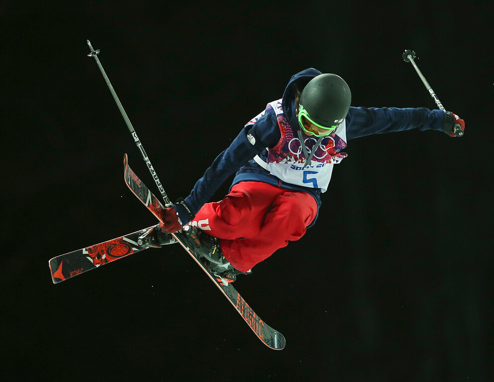 . Angeli Vanlaanen of the United States gets air during the women\'s ski halfpipe final at the Rosa Khutor Extreme Park, at the 2014 Winter Olympics, Thursday, Feb. 20, 2014, in Krasnaya Polyana, Russia. (AP Photo/Sergei Grits)