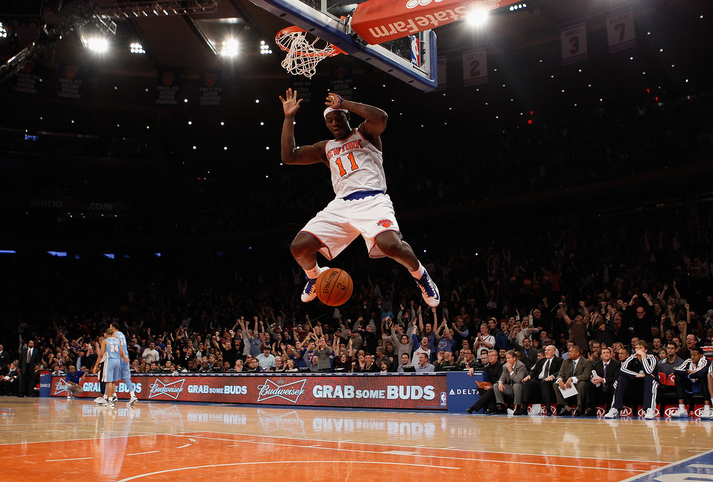 . NEW YORK, NY - DECEMBER 09: Ronnie Brewer #11 of the New York Knicks scores against the Denver Nuggets in the fourth quarter to put the Knicks ahead 90-88 at Madison Square Garden on December 9, 2012 in New York City. NOTE TO USER: User expressly acknowledges and agrees that, by downloading and/or using this photograph, user is consenting to the terms and conditions of the Getty Images License Agreement.  The Knicks defeated the Nuggets 112-106. (Photo by Bruce Bennett/Getty Images)