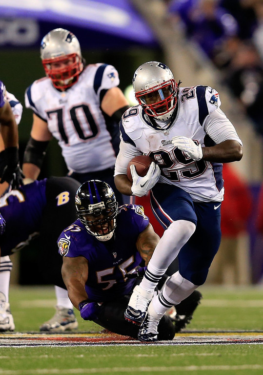. Running back LeGarrette Blount #29 of the New England Patriots carries the ball during the second half against the Baltimore Ravens at M&T Bank Stadium on December 22, 2013 in Baltimore, Maryland.  (Photo by Rob Carr/Getty Images)
