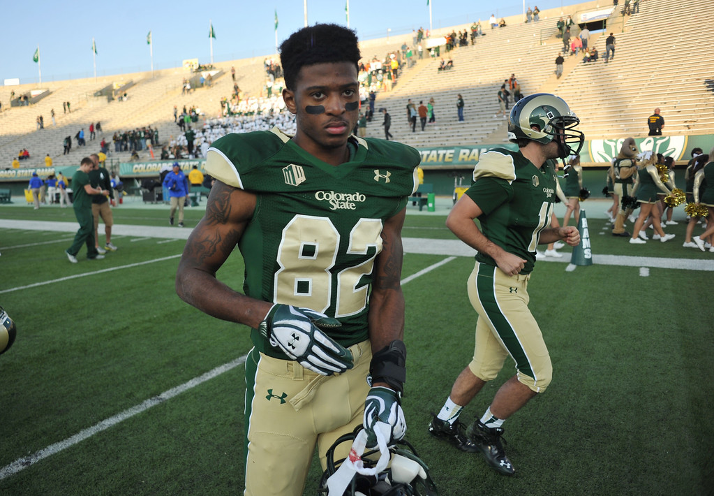 . FORT COLLINS, CO - OCTOBER 12 : Rashard Higgins of Colorado State (82) leaves the field after losing the game against San Jose State at Hughes Stadium. Fort Collins. Colorado. October 12, 2013. San Jose won 34-27. (Photo by Hyoung Chang/The Denver Post)
