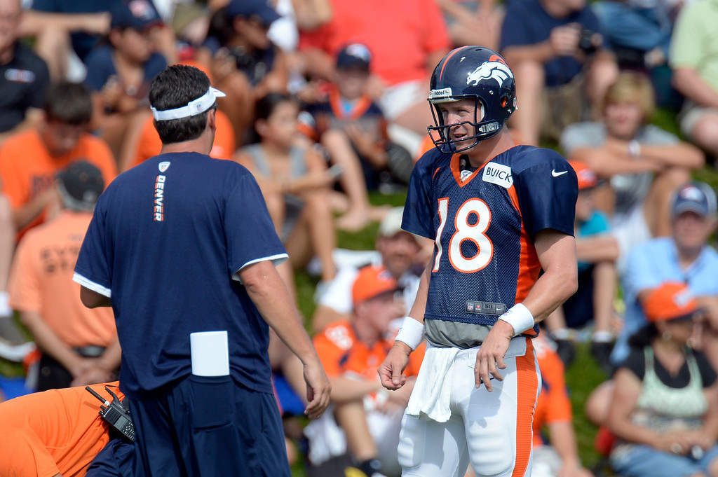 . Denver Broncos QB Peyton Manning (18) talks with Greg Knapp Quarterbacks coach during training camp August 1, 2013 at Dove Valley. (Photo By John Leyba/The Denver Post)
