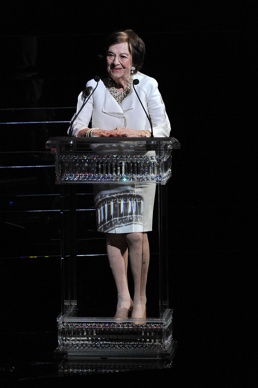 . Ruth Finley speaks onstage at the 2014 CFDA fashion awards at Alice Tully Hall, Lincoln Center on June 2, 2014 in New York City.  (Photo by D Dipasupil/Getty Images)