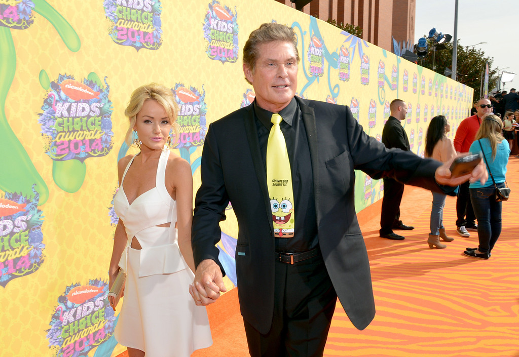 . Hayley Hasselhoff, left, and David Hasselhoff arrive at the 27th annual Kids\' Choice Awards at the Galen Center on Saturday, March 29, 2014, in Los Angeles. (Photo by John Shearer/Invision/AP)