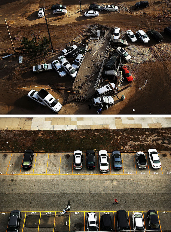 . NEW YORK, NY - NOVEMBER 02: (top)  Abandoned and flooded cars are sit after Hurricane Sandy on November 2, 2012 in the Rockaway neighborhood, of the Queens borugh of New York City. NEW YORK, NY - OCTOBER - 20: (bottom)  Cars sit in a parking lot on October 20, 2013, 2012 in the Rockaway neighborhood, of the Queens borugh of New York City. Hurricane Sandy made landfall on October 29, 2012 near Brigantine, New Jersey and affected 24 states from Florida to Maine and cost the country an estimated $65 billion.  (Photos by Spencer Platt/Getty Images)