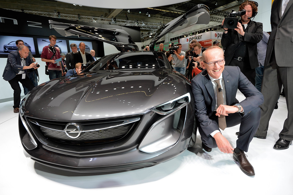 . Chairman of the board of Opel Karl-Thomas Neumann presents the new \'Monza\' concept  at the IAA international automobile show on September 10, 2013 in Frankfurt, Germany.   (Photo by Thomas Lohnes/Getty Images)