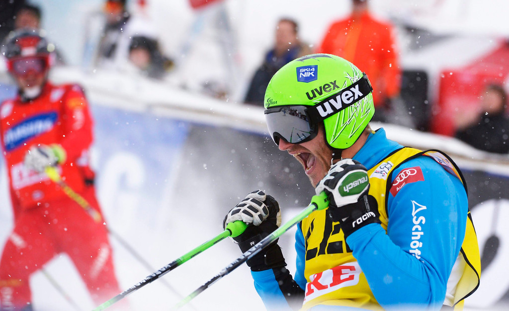 . Austria\'s Thomas Zangerl reacts after winning the Audi FIS Ski Cross World Cup in Are, Sweden, March 16, 2014.  EPA/JANERIK HENRIKSSON