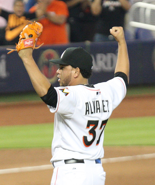 . Miami Marlins pitcher Henderson Alvarez reacts after throwing a no-hitter against the Detroit Tigers in a baseball game in Miami, Sunday, Sept. 29, 2013. Miami defeated Detroit 1-0.  (AP Photo/El Nuevo Herald, Hector Gambino)