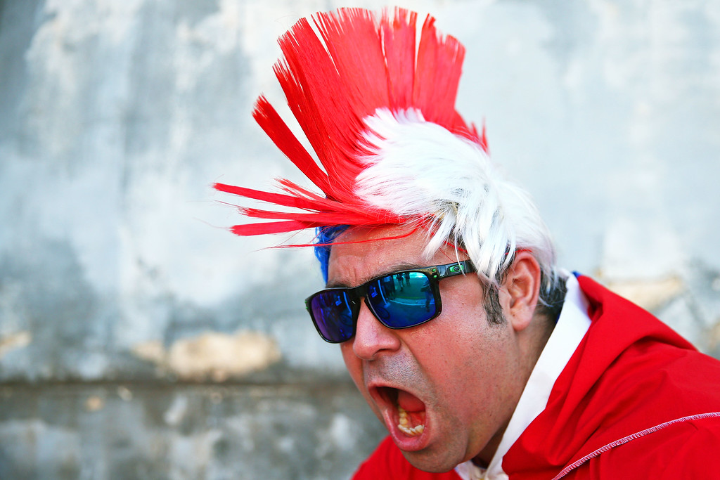 . A Chile fan enjoys the atmosphere prior to the 2014 FIFA World Cup Brazil Group B match between Chile and Australia at Arena Pantanal on June 13, 2014 in Cuiaba, Brazil.  (Photo by Cameron Spencer/Getty Images)