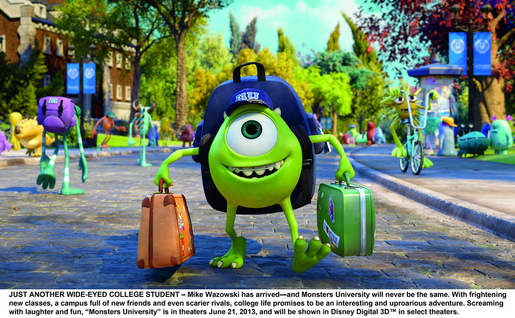". Mike Wazowski(Billy Crystal) arrives all bright eyed at ""Monsters Univerity.\"" Provided by Pixar."