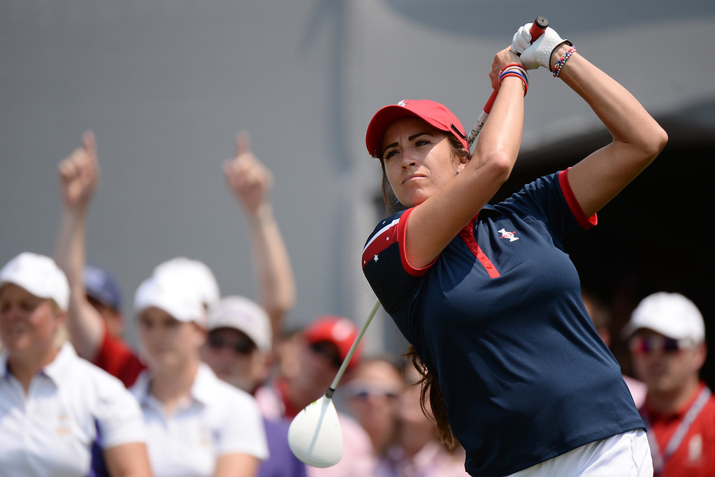 . PARKER, CO. - August 16: Gerina Piller of team USA is watching her ball from 1st tee ground during  2013 Solheim Cup at Colorado Golf Club. Parker, Colorado. August 16, 2013. (Photo By Hyoung Chang/The Denver Post)
