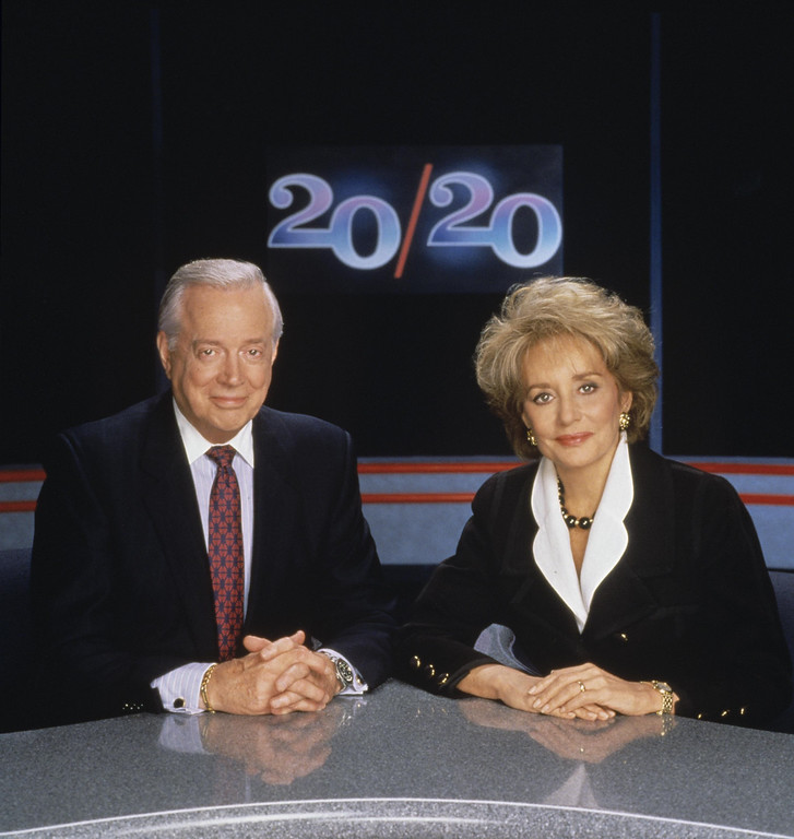 . ABC NEWS 20/20 - 6/28/93 - Hugh Downs and Barbara Walters on the set of 20/20.  The duo anchored the program together from 1979 until 1999 when Hugh Downs retired.   (ABC/STEVE FENN) HUGH DOWNS, BARBARA WALTERS