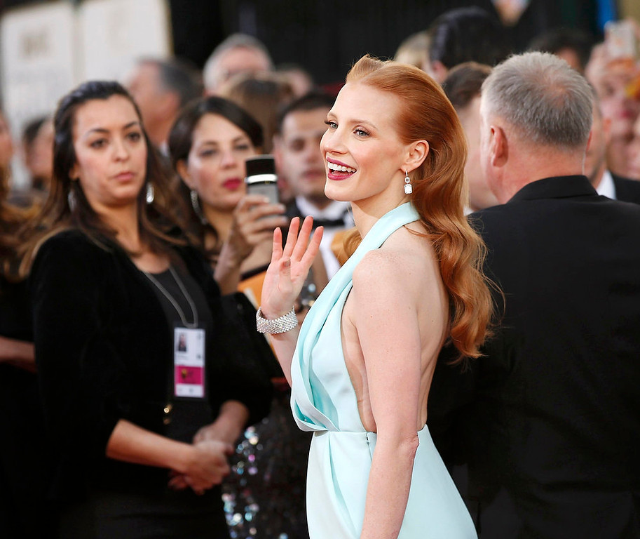 ". Actress Jessica Chastain, from the film ""Zero Dark Thirty,\"" is on top of Hollywood right now and hard to hate but her look for the Golden Globe Awards doesn\'t compare, gaining her a nomination for our worst dressed list.  REUTERS/Mario Anzuoni"