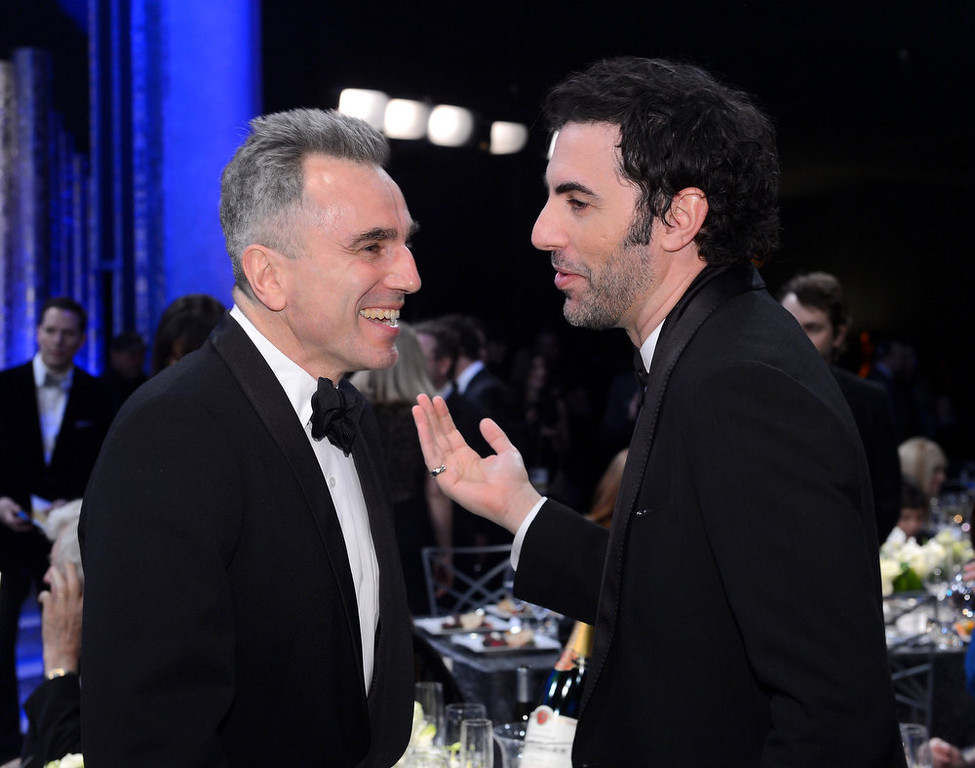 . LOS ANGELES, CA - JANUARY 27:  Actors Daniel Day-Lewis (L) and Sacha Baron Cohen attend the 19th Annual Screen Actors Guild Awards cocktail reception at The Shrine Auditorium on January 27, 2013 in Los Angeles, California.  (Photo by Mark Davis/Getty Images)