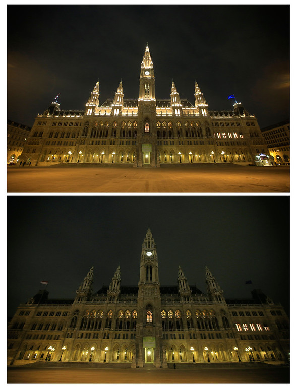 . This combination picture shows Vienna\'s Rathaus (Townhall) before and after submerging into darkness as part of the Earth Hour switch-off in Vienna on March 23, 2013. Organisers expect hundreds of millions of people across more than 150 countries to turn off their lights for 60 minutes on Saturday night -- at 8:30 pm local time -- in a symbolic show of support for the planet. While more than 150 countries joined in last year\'s event, the movement has spread even further afield this year, with Palestine, Tunisia, Suriname and Rwanda among a host of newcomers pledging to take part. ALEXANDER KLEIN/AFP/Getty Images